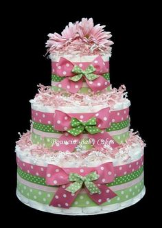 3 Tier (Pink and Green) Strawberry Kiwi Baby Diaper Cake