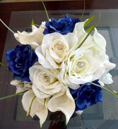 Royal Blue Wedding Flowers | Real Touch Calla Lilies with Navy Blue Rose Bridal Bouquet