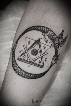 Alex Tabuns - ouroboros, masonic, alchemy tattoo