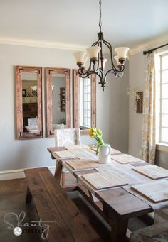 Dining Room with Mirrors Fresh Diy Full Length Mirror Shanty 2 Chic Rustic Full Length Mirror, Rustic Wall Mirrors, Free Furniture Plans, Furniture Plans, Mirror Wall Living Room, Wood Furniture Plans, Wood Furniture Diy, Mirror Dining Room, Farmhouse Mirrors
