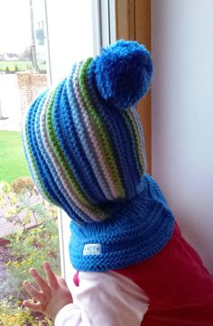 Waldorf inspired winter and snow hat. Hand knitted hoodie / balaclava hat for baby, toddler, child. Made from 100% merino wool in royal blue, light blue, bright green, and grey. Soft and very functional - perfect to keep the little ones warm and cozy during cold days. OPTIONAL: cotton lining for extra warmth. However the hats are really soft and warm as they are - lining might be necessary for freezing cold weather if there is no other hood to put on. Price 12$ Moms that favor hoodie ha...