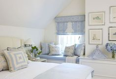 blue and white bedroom. love the shoe prints on the wall.