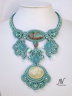 "Soutache necklace. Beautiful ""Allegro Appassionato"" by Anneta Valious / etsy"