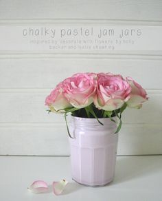 Chalky jam jar Decorate with Flowers