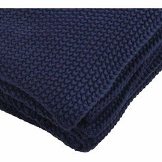 Navy Knit Throw - French Bedroom Company