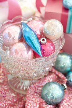 Vintage ornaments and crystal