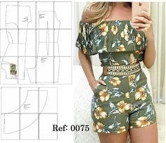 jumpsuit pattern with shoulder frill Fashion Sewing, Diy Fashion, Fashion Outfits, Sewing Pants, Sewing Clothes, Dress Sewing Patterns, Clothing Patterns, Make Your Own Clothes, Jumpsuit Pattern