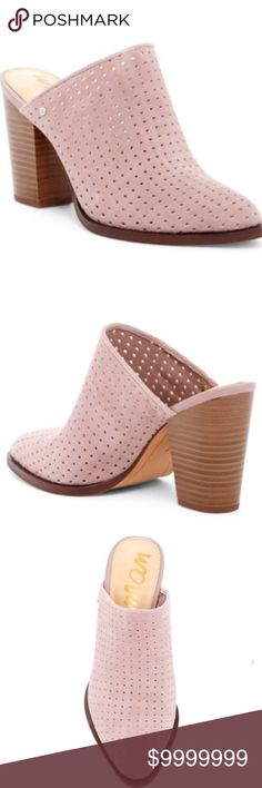 04a6bccc04395 Sam Edelman pink mauve suede mules Perforated upper