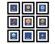 Solar System art for kids room
