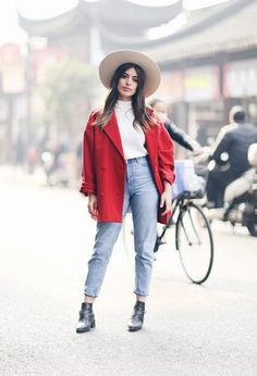 Look by @lya_roc with #ankleboots #coats #jeans #denim #blackboots #vintage #sweaters #topshop #onyourhead #redcoats #whitesweaters #turquoisepants #monky.