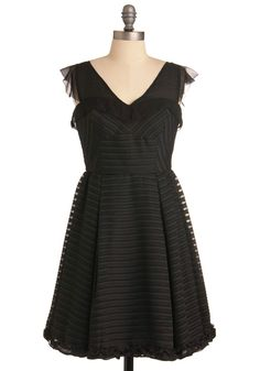 Set the Limousine Dress - Mid-length, Black, Ruffles, Trim, A-line, Cap Sleeves, Formal, Vintage Inspired, Party