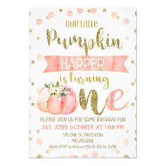 Shop Girls Pink Pumpkin First Birthday Invitation created by Sugar_Puff_Kids. 1st Birthday Invitations Girl, Baby Girl 1st Birthday, Girl Birthday Themes, Birthday Fun, First Birthday Parties, Birthday Ideas, Birthday Banners, Birthday Cakes, Pumpkin 1st Birthdays