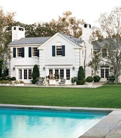 white stone home & pool #dream #home For guide + advice on lifestyle, visit www.thatdiary.com