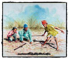 Boyes playing 'gulli danda' outside the village