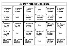 Plank, squat and crunches challenge.