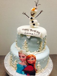 Disney's Frozen Custom Birthday Cake by Plumeria Cake Studio! 3D Olof topper, Fondant artwork of Anna & Elsa, Buttercream piping. Kids everywhere are going crazy for this one!