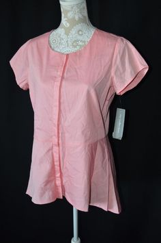 NY Collection Womens Medium Pink NEW Short Sleeve Crewneck Button Down Tunic Top #NYCollection #ButtonDownShirt #Casual