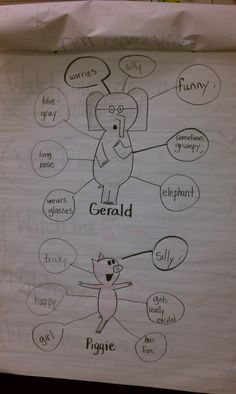 Elephant and Piggie book activites, anchor charts - Mo Willems Gerald and Piggie anchor chart (character traits)