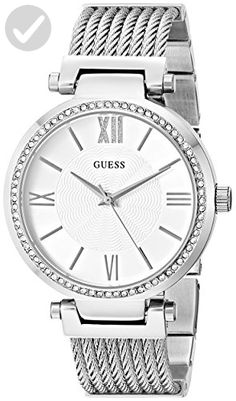 GUESS Women's U0638L1 Sophisticated Silver-Tone Watch with Adjustable Bracelet and Genuine Crystals - All about women (*Amazon Partner-Link)