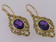 Ornate 9ct Solid Gold LARGE Natural Amethyst Filigree Drop Earrings