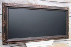 """BLACK FRAMED BLACKBOARD Oil Rubbed Bronze Black Magnetic Ornate Framed Chalk board - ExTRA LaRGE - 56""""x32"""" Home Office Large Long Chalkboard"""