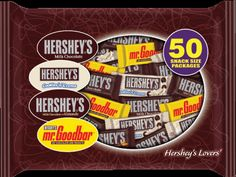 Like HERSHEY'S chocolate? You'll love this 50-piece bag of classic HERSHEY'S candy bars. Enjoy snack-size HERSHEY'S Milk Chocolate Bars, HERSHEY'S COOKIES 'N' CRÈME Candy Bars, HERSHEY'S Milk Chocolate with Almonds Bar and MR. GOODBAR Chocolate Bars.