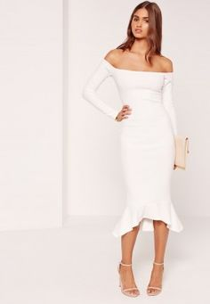 Bardot Fishtail Hem Dress White White Bardot Dress, White Midi Dress, Midi Dress Outfit, New Dress, Dress Skirt, Dress Outfits, Fashion Dresses, Fashion Clothes, Fishtail