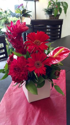 Red, hot and tropical - by Pamela for Michael's Flower Girl
