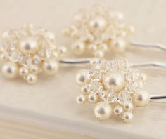whimsical pearl and crystal hair pins...hand made by me!