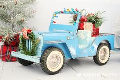 Vintage Trucks Holiday Trimmings with Vintage Toy Trucks - Move over gingerbread house, we've got a better holiday project for the whole family - create holiday trimmings with vintage toy trucks. Check it out! Christmas Truck, Christmas Toys, Christmas Photos, All Things Christmas, Vintage Christmas Crafts, Retro Christmas, Holiday Crafts, Christmas Holiday, Christmas Ideas