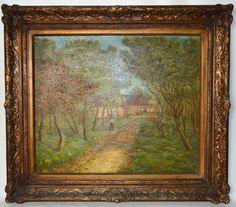 """GUYOT - Charles Ledn (Escola Francesa) """"Fazenda com figura e animais"""" - Óleo sobre tela, med: 46 x 55 cm. A.C.I.D. - Pintor citado no Benezit vol 5, Pág 322."""