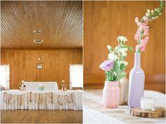 Amanda & Ron | Rustic Church Wedding, country shabby chic, burlap table runners, burlap wedding decor, painted bottle wedding decor, painted bottle centerpieces, pink & gold bottle centerpieces, burlap & fabric banner