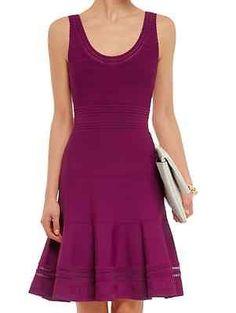 DIANE VON FURSTENBERG 'Perry' Knit Flared Dress In Lotus Berry Sz L New $475