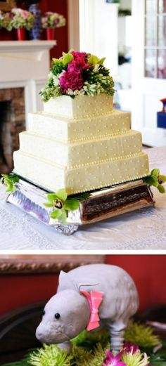 Love the simple wedding cake.