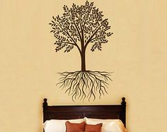 Tree with Roots Wall Decals - Wall Vinyl Decal - Interior Home Decor - Tree Wall Decal - Housewares Tree Art Vinyl Sticker Decal V1032