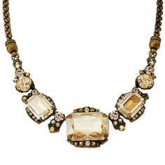 """Statement Necklace Sorrelli. $200.00. antique gold plated. rope chain, 15 1/4"""" in length with a 4"""" extender, lobster clasp. shades of golden shadow, light colorado & copper. Design is approx. 6 1/2"""" in length and 1"""" wide at the center. rectangular and round pendant designs"""