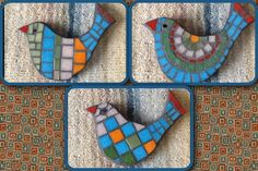 Set of three mosaic birds