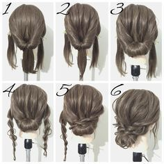 Inspiring 21 Super Easy Updos for Beginners https://fazhion.co/2017/09/27/21-super-easy-updos-beginners/ On top of that, most buns only have a matter of minutes to gather. As a consequence, you are obtaining a form of a sloppy low bun. This easy bun is cute and simple to accomplish.