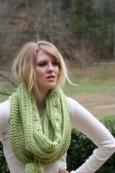 Light Green Cowl Scarf  Cozy Capelet  Deep Loop by crochetgallery,