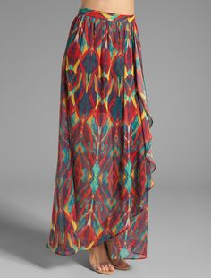 9e7fd34476ed Alice and Olivia Marbelle maxi wrap slit skirt with tribal prints Tribal  Maxi Skirts