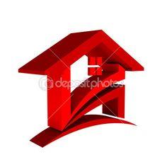3D Red House Logo — Stock Photo #36834189 Architecture Blueprints, 3d Design, Graphic Design, Marketing Logo, Real Estate Logo, Home Logo, Logo Images, Vector Art, Symbols