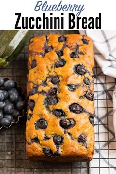 This healthy Blueberry Zucchini Bread recipe is moist, easy and delicious for summer and beyond! Made with Greek yogurt, whole grains, and a touch of lemon.#vegetarian #greekyogurt #healthysnack @wellplated High Protein Vegetarian Recipes, Low Carb Dinner Recipes, Healthy Recipes, Blueberry Zucchini Bread, Zucchini Bread Recipes, Easy Delicious Recipes, Yummy Food, Tasty, Greek Yogurt Bread