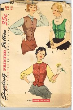 Vintage Simplicity 4768 Sewing Pattern Weskit Weskits 17/36 1950's Fashion