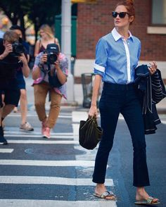 Street style & fashion week stories, blue shirt, pants, trousers, sandals