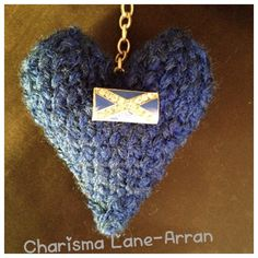 Hand Knitted Scottish Saltire Heart Keyring by CharismaLane on Etsy