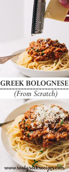 Greek Spaghetti Bolognese is similar to classic Italian. But with a thicker texture and lots of spices. This hearty sauce is the definition of comfort food! and Drink meals Greek Spaghetti Bolognese (Makaronia Me Kima) - Real Greek Recipes Greek Recipes, Meat Recipes, Pasta Recipes, Italian Recipes, Mexican Food Recipes, Cooking Recipes, Healthy Recipes, Healthy Food, Oven Recipes