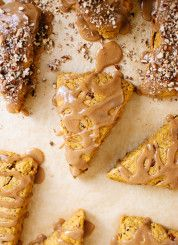 Pumpkin pecan scones with maple glaze (made with coconut oil and vegan!) cookieandkate.com