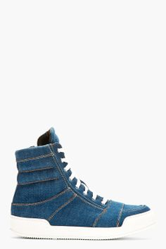BALMAIN Blue Denim High Top Sneakers