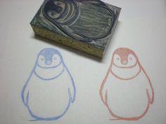 "Penguin Stamp - Hand Carved Linoleum Block 2"" x 3""- Made to Order. $15.00, via Etsy."