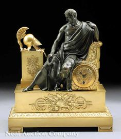 Napoleon III Gilt Patinated Bronze Figural Mantel Clock, mid-19th c., in the style of the first Empire